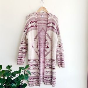 Shrinking Violet Fuzzy Aztec Cardigan